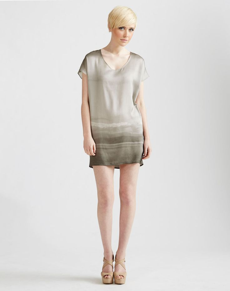 Kimono Silk T-shirt Dress in Grey Clouds Print available online at www.jenkinsandjane.com.au