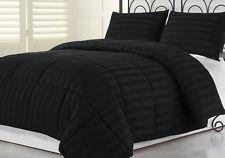 3pcs Hotel Dobby Stripe Goose Down Alternative Comforter Set, Black, Queen