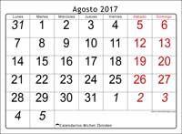 Calendario agosto 2017, Oseus