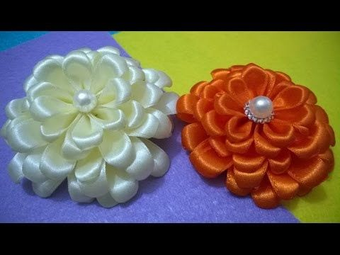 Flores blancas white flowers on ribbons en cintas para el cabello - vídeo en HD - YouTube