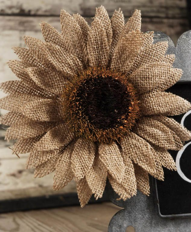 Burlap Sunflower with Clip