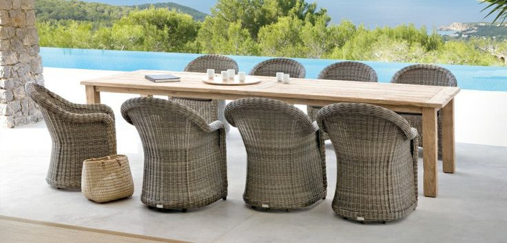 Outdoor Patio Ideas wicker wood dining chairs table