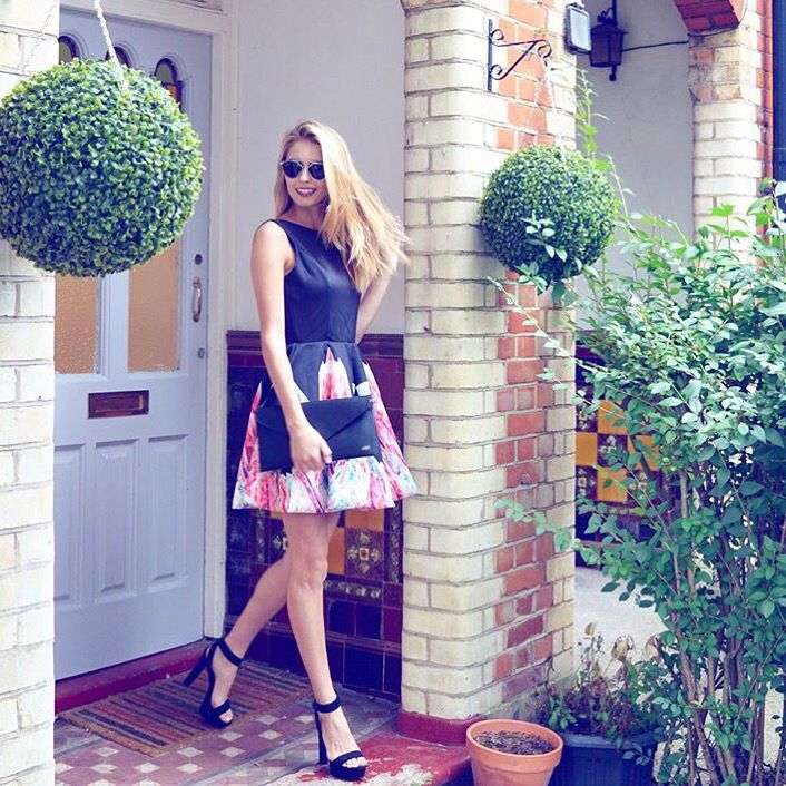 Blogger Amy Neville Featuring Her HA Gold Initial Monogram Black Clutch Bag