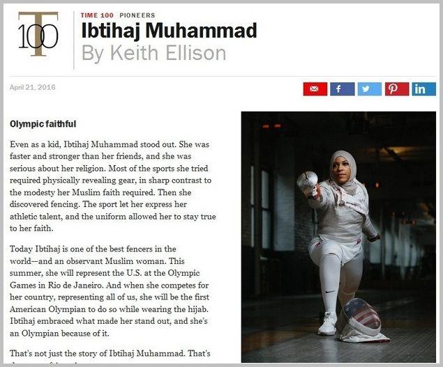 Muslimah Hijaber Atlet Anggar Ini Masuk 100 Orang Paling Berpengaruh TIME 2016  Tak banyak yang mengenal nama Ibtihaj Muhammad. Atlet anggar muslimah berhijab asal Amerika Serikat ini menorehkan prestasi yang membanggakan bagi dunia Muslim. Ibtihaj masuk dalam daftar 100 Orang Paling Berpengaruh versi Majalah Time dalam kategori Sang Pemulai (Pioneers). [Seluruhnya ada 5 kategori: Pioneers Titans Leaders Artists Icons] Menurut TIME Ibtihaj telah memberikan inspirasi bagi Muslim lainnya. Dia…