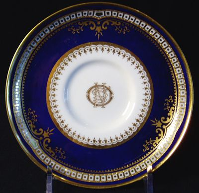 China from Titanic's Captain's Table    This china saucer, made by Spode, may be one of the rarest pieces of modern day china. It uses an extraordinary amount of cobalt blue and gold decoration. Only 190 pieces of this pattern were ordered by the White Star Line exclusively for Titanic. Only six pieces are known to exist. It is believed that this china was made for the Captain's table.