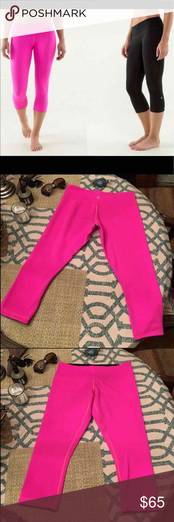 Lululemon Pink & Black Crop Leggings Size 6 like new, reversible. No piling or flaws. Happy to bundle items for a great discount. lululemon athletica Pants Leggings