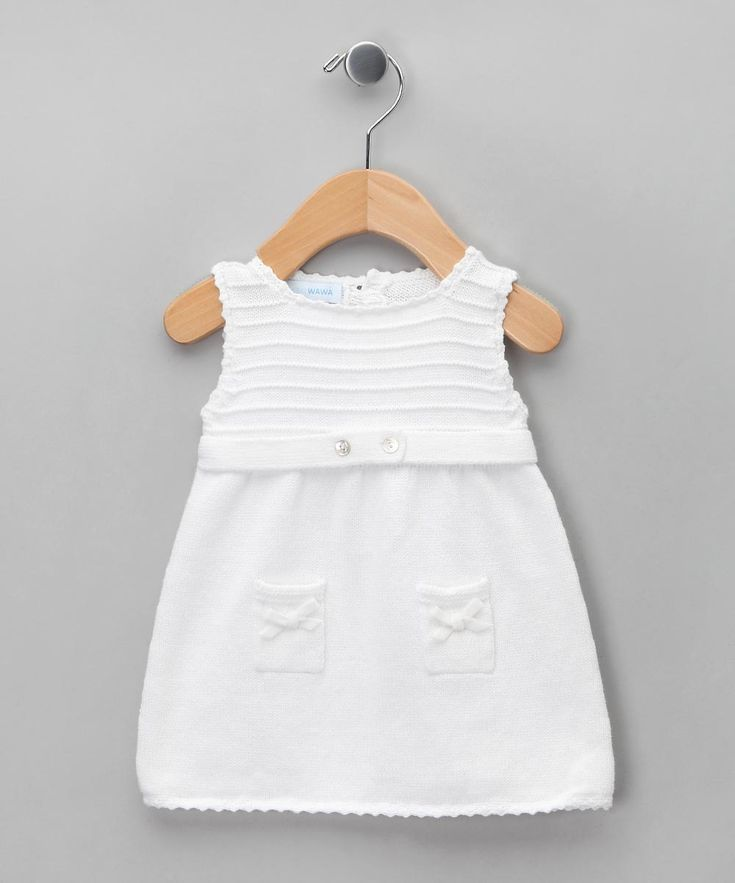 Miskiwawa Bebe White Tricot Knitted Sleeveless Dress - Infant
