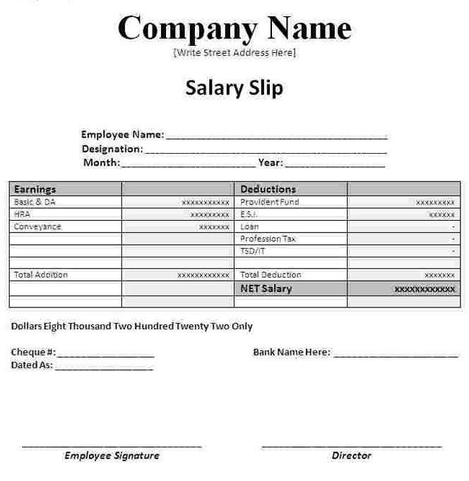 Sample Salary Slip Format In Excel Word Template Payroll Template Salary Slip