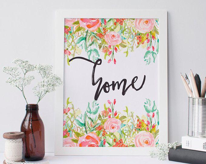 Página imprimible citar de arte imprimible 8 x 10 inspiracional impresión floral pared arte decoración dormitorio decoración arte acuarela floral home imprimible