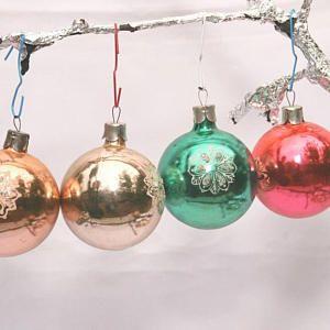 Vintage Set of 4 Mercury Glass Vintage USSR Christmas bauble* Vintage Christmas Tree Ornaments * glass ornament Mercury Glass Bulbs