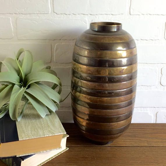 Large Multi Metal Vase / Vintage Large Copper Nickel Brass Vase / Metal Bee Hive Vase / Vintage Banded Metal Vase / Large Midcentury Vase