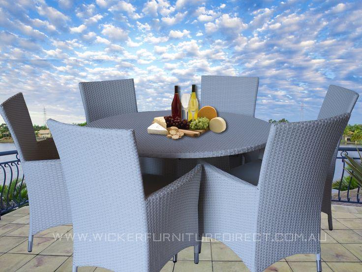 White Victoria 6 Seater Round Wicker Outdoor Dining Set