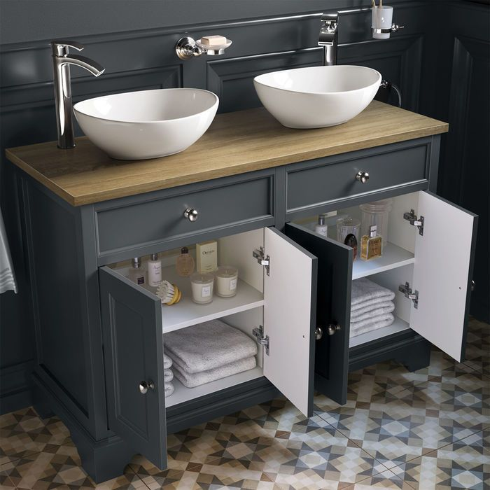 1200mm Loxley Charcoal Countertop Unit Double Camila Basin