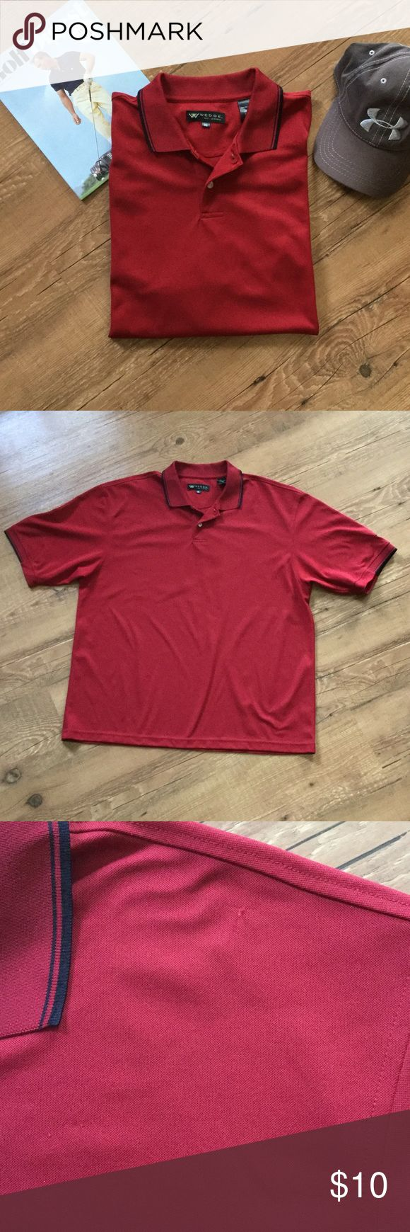 """Men's red polo shirt Short sleeve, red polo """"golf"""" shirt. Black trim on collar and sleeves. There are a couple small snags on the left shoulder and chest area (see pic) and one on the back. 100% polyester.  Please ask any necessary questions prior to purchasing. No trades. Save even more with a bundle discount! Shirts Polos"""