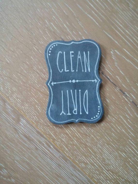 Dishwasher Magnet, Clean & Dirty Dishwasher Magnet, Hand Lettering