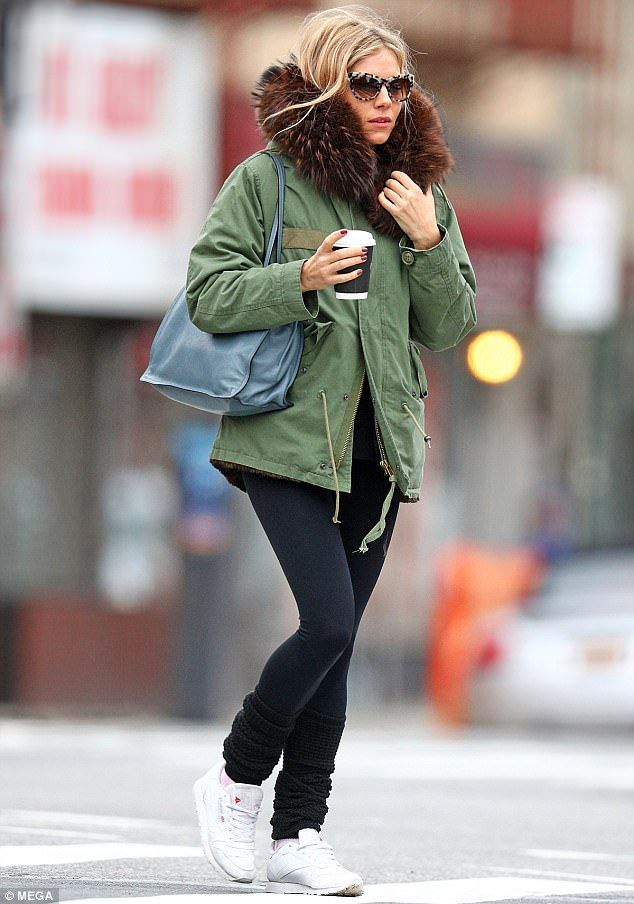 4ff6f5289 Sienna Miller spotted on a coffee run wearing army green coat in NYC ...