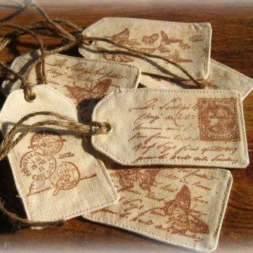 Des étiquettes en tissu... Add stamped hearts for valentine tree. Fabric printed labels Vintage