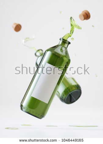 Splash Olive Oil Bottles - 3D Rendering