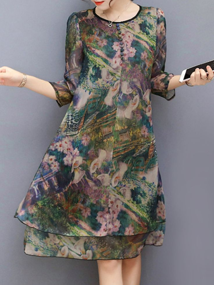 Hot-sale Vintage Floral Printed 3/4 Sleeves Fake Two Pieces Dresses{ - NewChic Mobile.