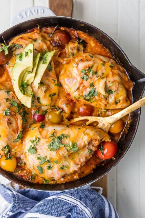 ENCHILADA STUFFED CHICKEN SKILLET (INSIDE-OUT CHICKEN  Mein Blog: Alles rund um die Themen Genuss & Geschmack  Kochen Backen Braten Vorspeisen Hauptgerichte und Desserts # Hashtag