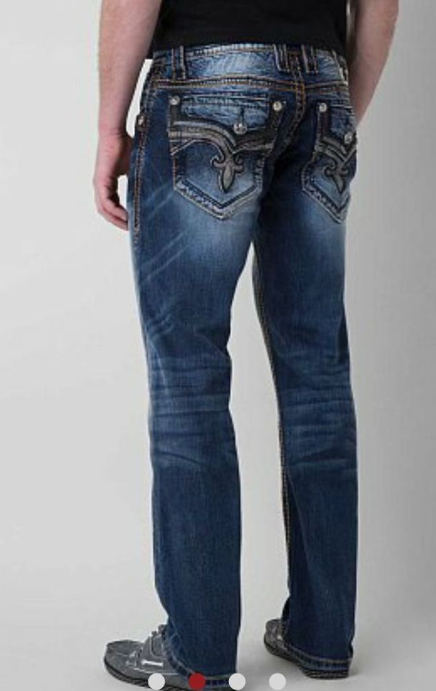 NEW MEN'S ROCK REVIVAL FOXE RELAXED STRAIGHT CUT JEANS 42 X 30 #RockRevival #RELAXEDSTRAIGHTCUT