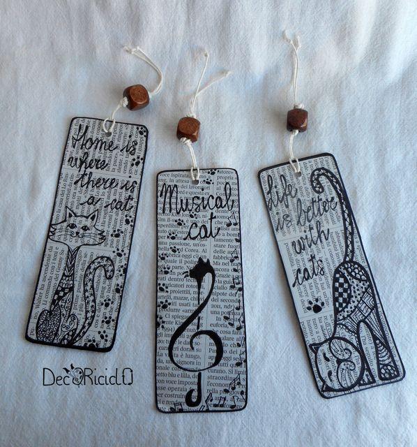 segnalibri disegnati a mano con tecnica ispirata allo Zentangle, su base di cartoncino di recupero e carta di giornale