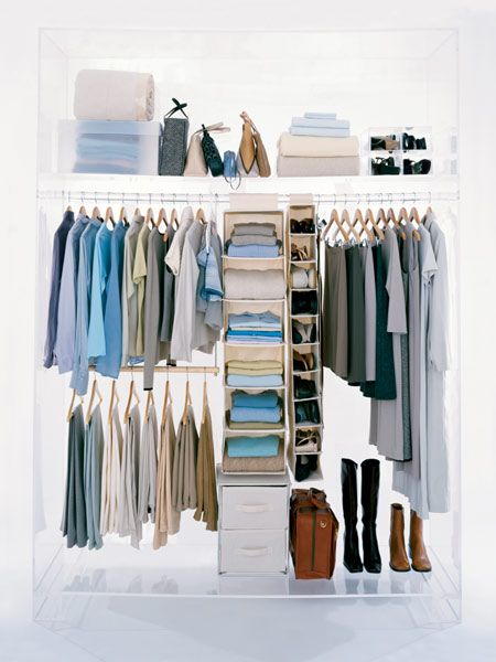 Closet Rod Doubler, Hanging Organisers And Storage Boxes Make For A Well Organised  Closet