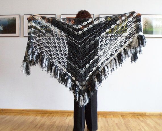 Handmade Triangle Shawl Crochet Shawl by UnlimitedCraftworks