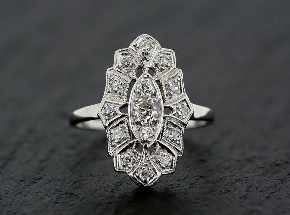 Art Deco Diamond Ring  Antique Platinum Art by AlistirWoodTait, £2350.00