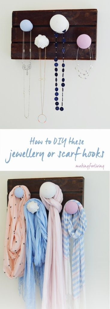 Jewelry hooks made with crate and curtain pole finials. DIY instructions for hooks for hanging scarves and jewelry. Homemade display and storage idea. Rustic and simple