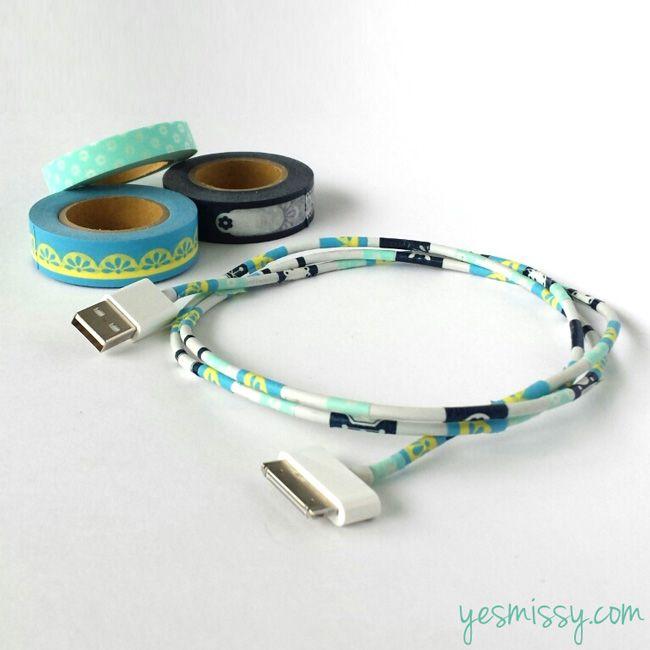 20 Creative Washi Tape Ideas - Decorate those boring cords with washi tape