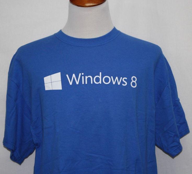 Microsoft Windows 8 Your Screen Your Stuff Your Way T-Shirt Blue XL Pristine! #PortCo #BasicTee