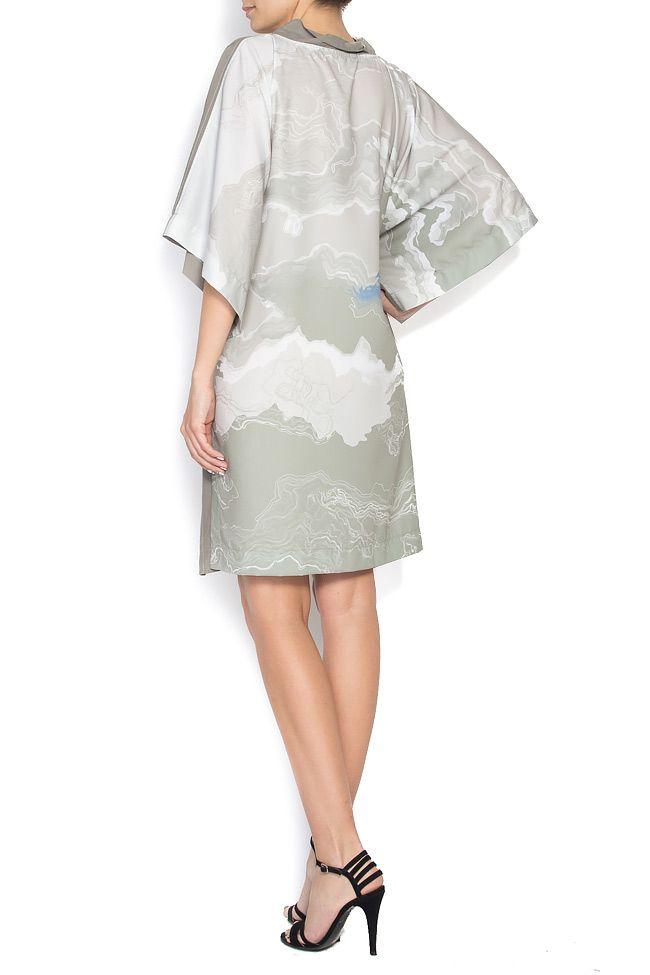Rochie tip chimono din modal cu imprimeu digital Constantine Renakossy imagine 2
