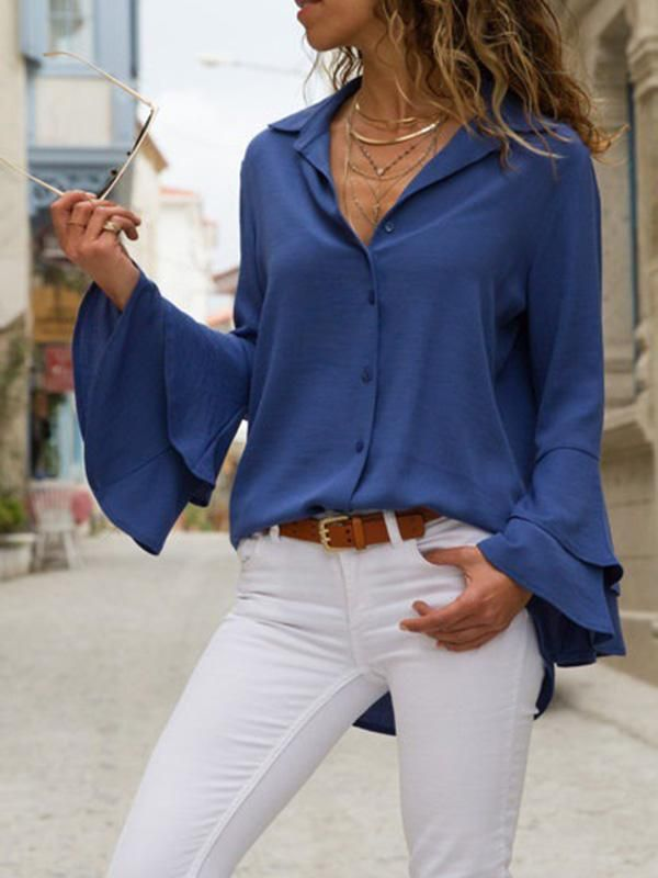 Solid Color Blouses&Shirts Top 1