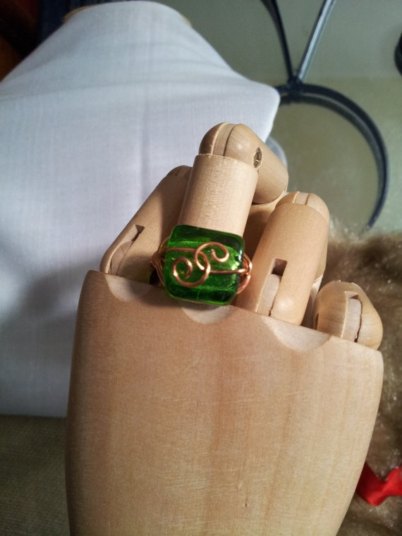 Copper Wrapped Green Ring by TrishandJude on Etsy, $20.00