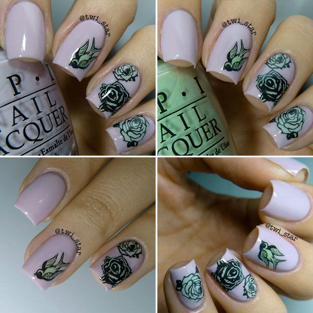 twi-star: OPI Steady as She Rose - MoYou London rose stamping nail art Biker-06