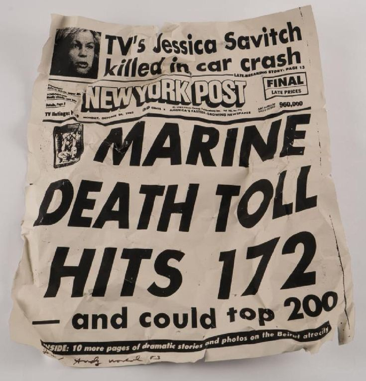 """New York Post Marine Death Toll Hits 172"" synthetic polymer and silkscreen ink on aluminum sheeting. 2 x 24 x 20 inches (approximately). signed Jon/ Andy Warhol '83."