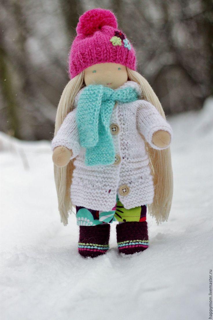 Купить Мария - белый, розовый, бирюзовый, вальдорфская кукла, вальдорфская игрушка, waldorf doll