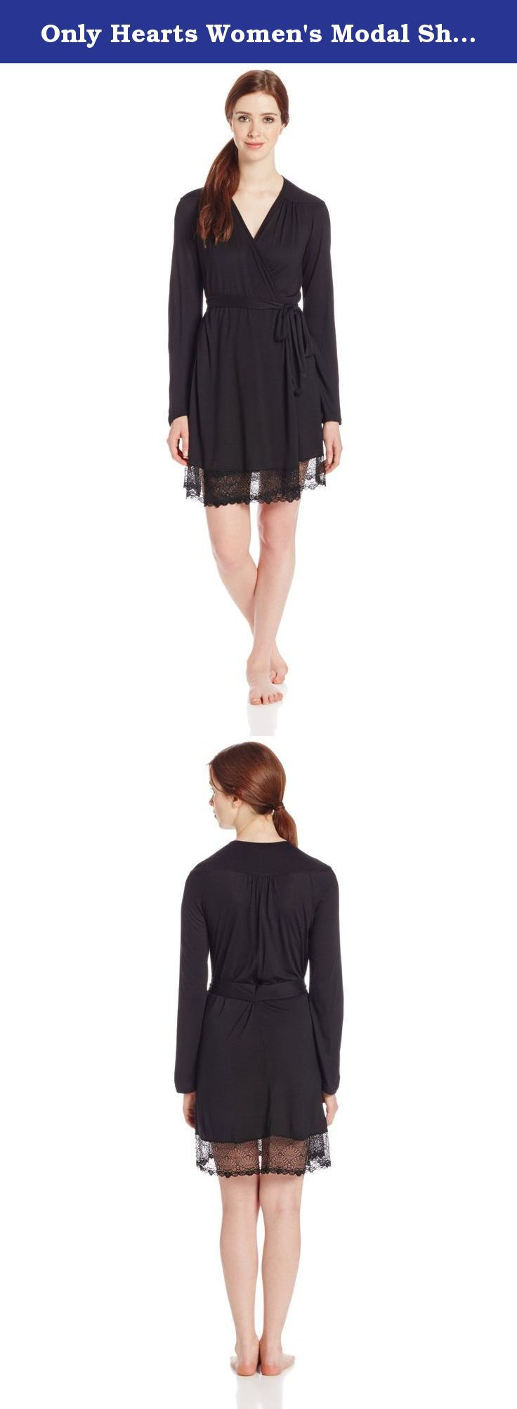 Only Hearts Women's Modal Short Robe with Lace Hem, Black, Small. Venice short robe with lace hem.