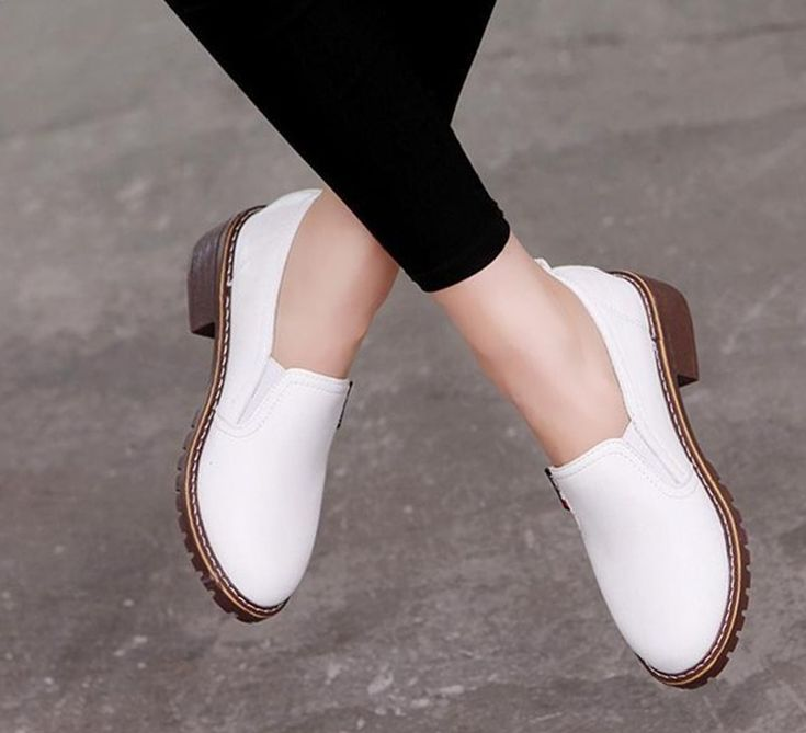 Casual Round Toe Slip-On Leather Elegant Oxford Women Flat Shoes