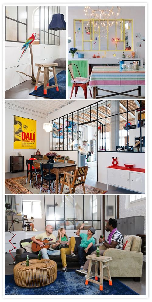 Indoor windows with an industrial style, Ventanas interiores estilo industrial, Fenêtres intérieures style atelier