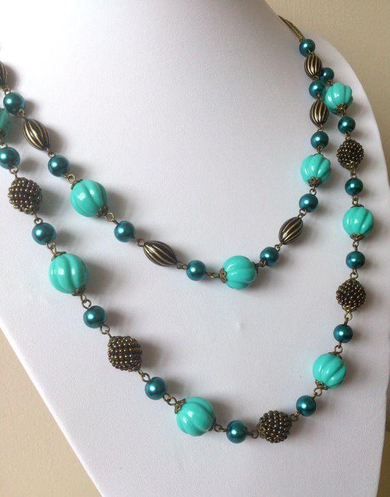 Multistrand ketting / / lange dubbele ketting / / gevlochten kralen / / Turquoise / / handgeweven kralen / / cadeau voor haar / / kerst / / vrije GIFT