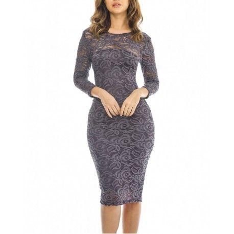 Modna, koronkowa sukienka w grafitowym kolorze. Ołówkowy, kobiecy fason idealny na wesele, komunię czy chrzciny. Zajrzyj do sklepu i zobacz naszą nową kolekcję.