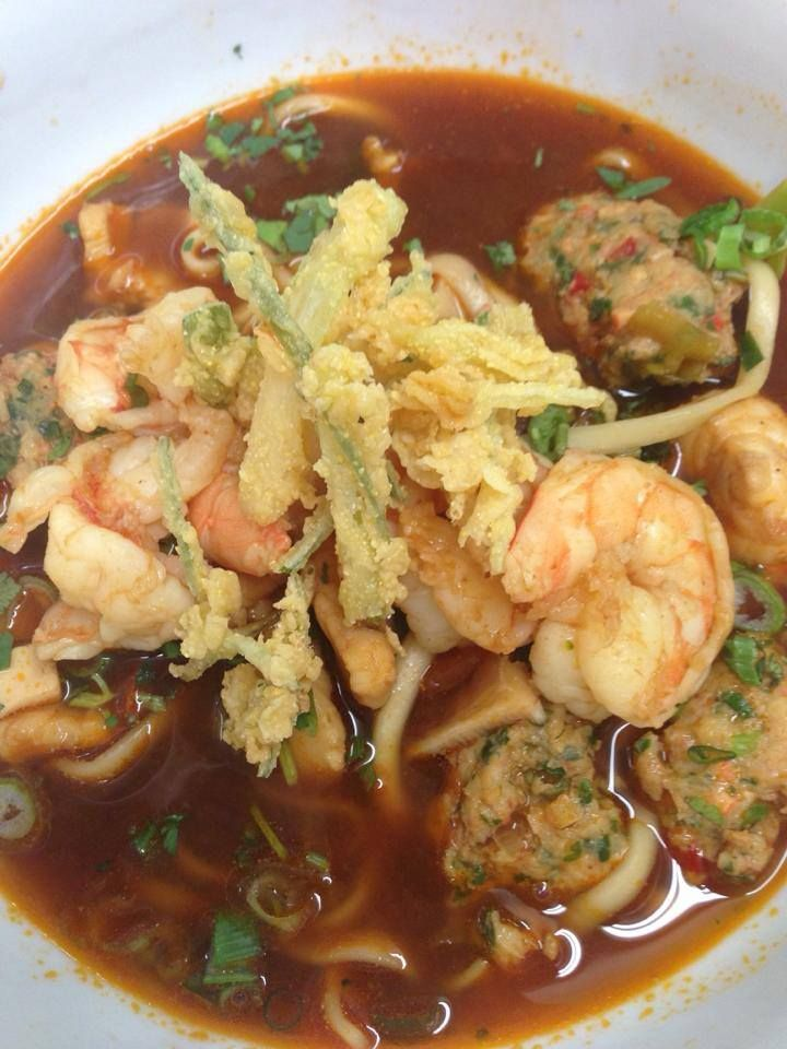 ... -Shrimp Dumplings in a Shrimp Broth. Topped with Fried Scallions