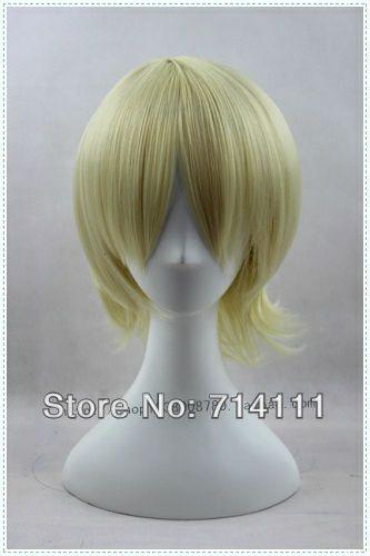 Светлый блондин с коротким немного лохматый косплей аниме парик kuroshitsuji доставка-термостойкость волокон бесплатная доставка