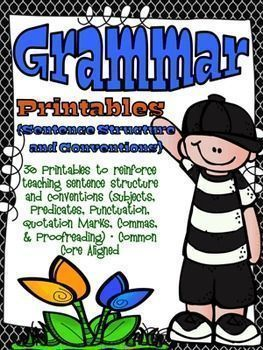 Sentence structure galore!  This grammar resource is loaded with printables covering subjects, predicates, punctuation, quotation marks, commas, sentence usage and more. Perfect for grammar review, small group, whole group, homework, or extra practice.