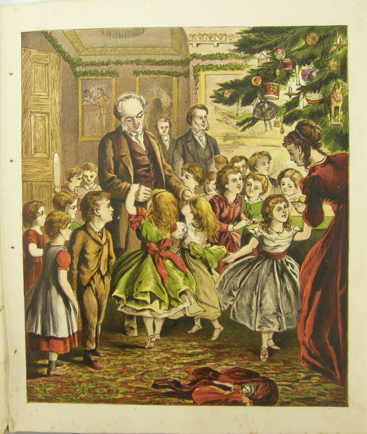 """""""Now came the eventide / When doors thrown open wide / admitted each young guest / Arrayed in smiles the best!""""    from """"Little Paul's Christmas"""" illustrated children's book published by The Religious Tract Society London.  Printer: JM Kronheim & Co from """"New Series Toy Books"""", circa 1873. Collection of Auckland Museum, col.0806.2"""