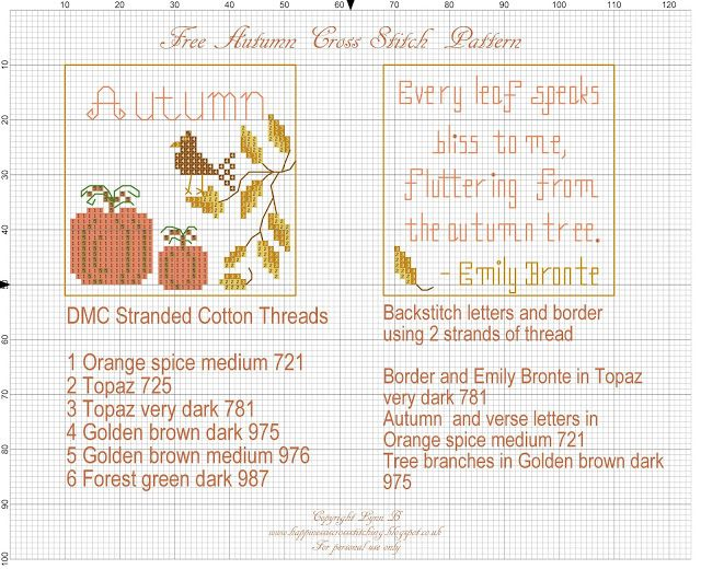 Happiness is Cross Stitching : Freebie Friday - Autumn Cross Stitch Pattern for Seasons 2016 and a gift bag to match!