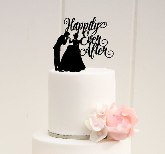 Happily Ever After Wedding Cake Topper with Cinderella and Prince Charming - Custom Cake Topper