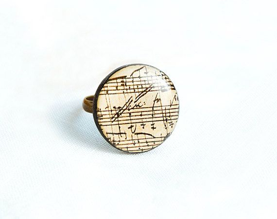 Sheet music polymer clay ring  Elegant jewelry by Lepun on Etsy, $12.00
